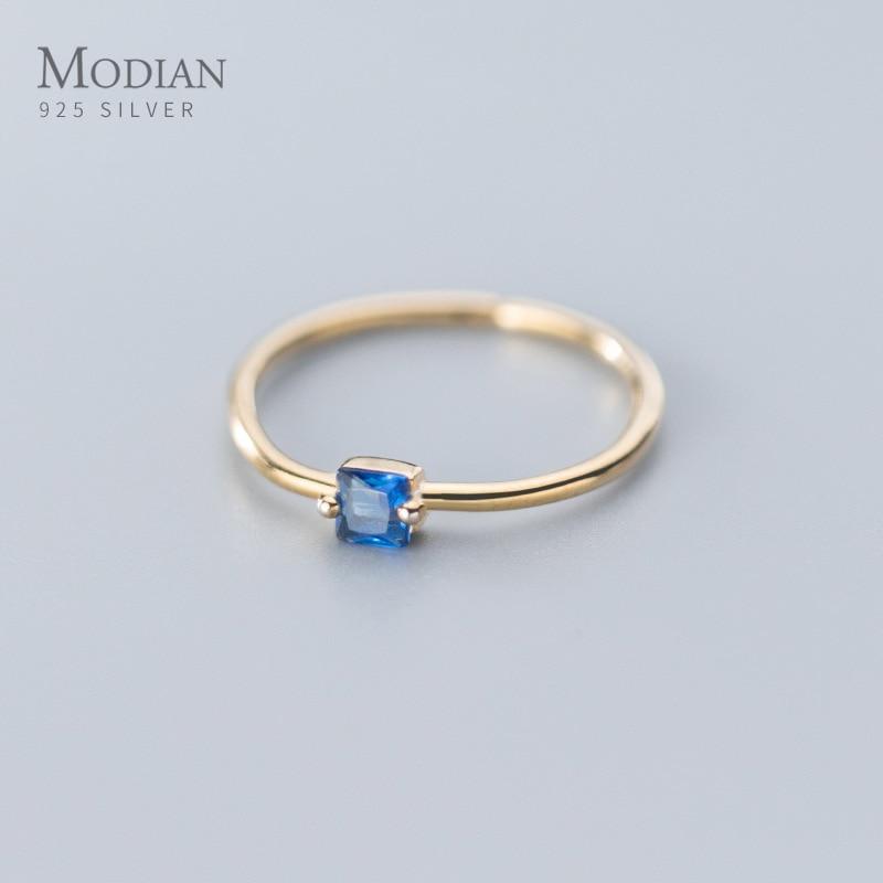 Modian винтажное темно синее Кристальное Открытое кольцо свободного размера для женщин из стерлингового серебра 925 пробы Золотое простое обручальное кольцо изящные ювелирные изделия|Кольца|   | АлиЭкспресс