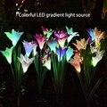 3 упаковки солнечный фонарик-Лилия градиент цвета 4LED плагин свет садовый светильник свет газон