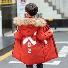 Winter Boys Parkas Cotton Outerwear Coats Fur Collar Hooded Long Jackets Coat For Boys Warm Children Clothes цена и фото