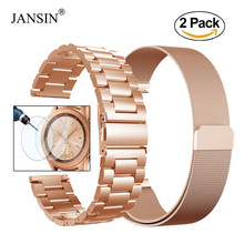 20 Mm Milanese Lus Rvs Strap Bands Voor Samsung Galaxy 42 Mm/Gear S2/Gear Sport Armband screen Bescherming Film Glas(China)
