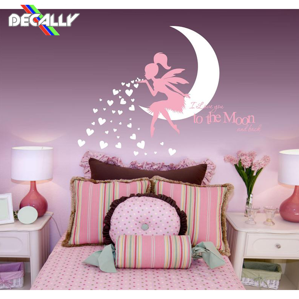 FAIRY Wall Decal  Fairy Blowing Hearts  Fairy blowing kisses  I Love You To The Moon and Back  Fairy wall sticker Decor Wall Stickers     - title=