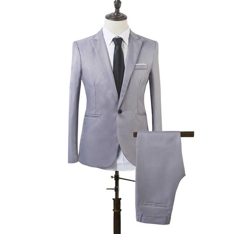 Мужской обтягивающий официальный деловой смокинг, костюм, пальто, брюки, вечерние, для свадьбы, выпускного, деловые рабочие костюмы, 2 предмета (куртка + штаны) J55