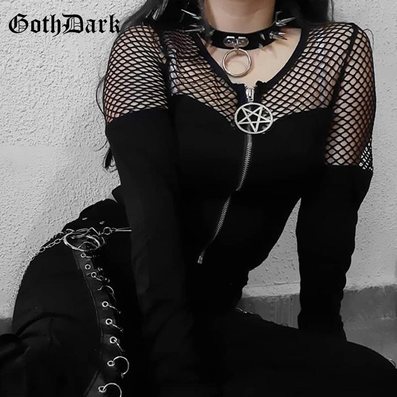 Goth Dark Fishnet Patchwork Mesh Gothic T-shirts Schwarz Grunge Reißverschluss Vorne Langarm T-stücke Frauen Crop Tops Sexy Streetwear Herbst