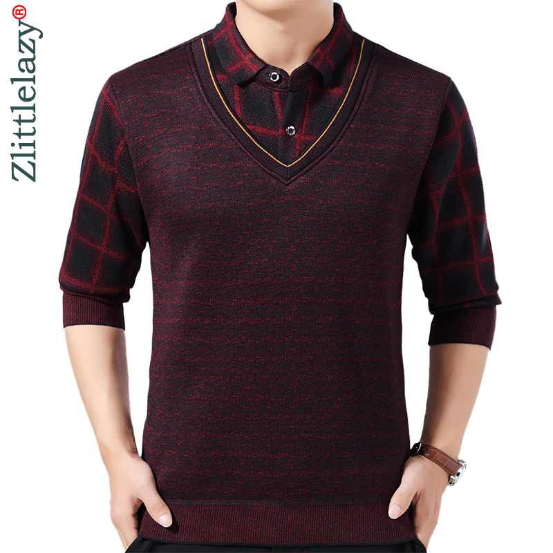 2019 Brand Casual Plaid Winter Warm Pullover Knitted Fake Two Pieces Male Sweater Men Thick Mens Sweaters Jersey Clothing 1283