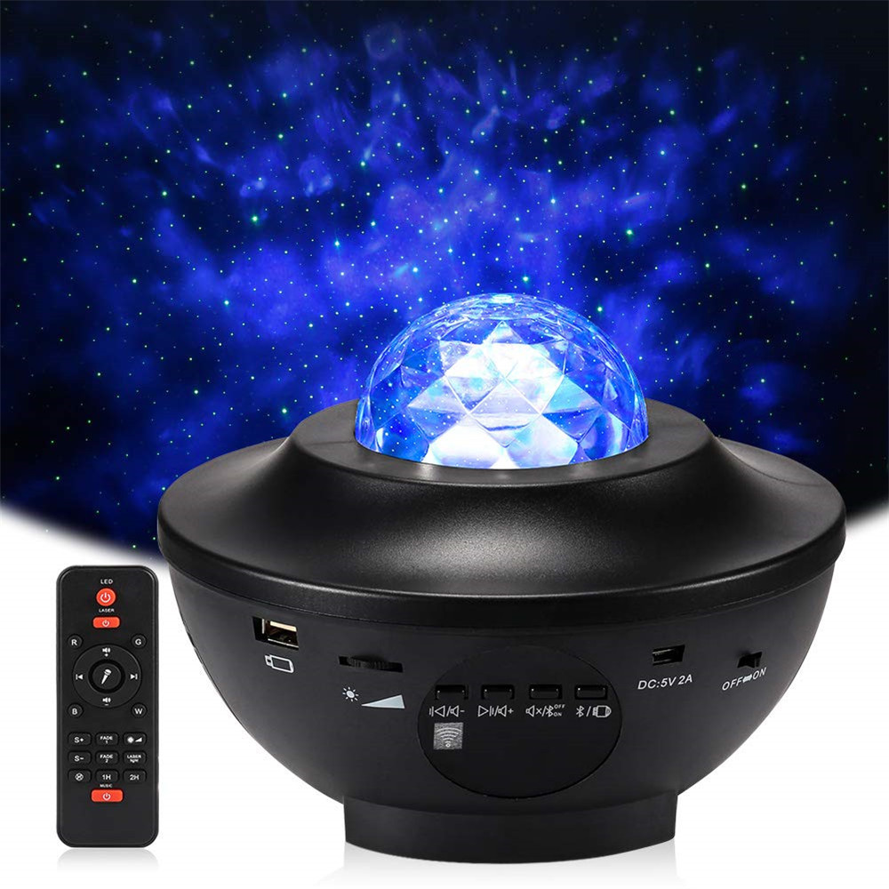Laser Star Projector Light Night Light 2-in-1 Twilight Star Ocean Wave Projection Bluetooth Speaker Voice Control Multifunction
