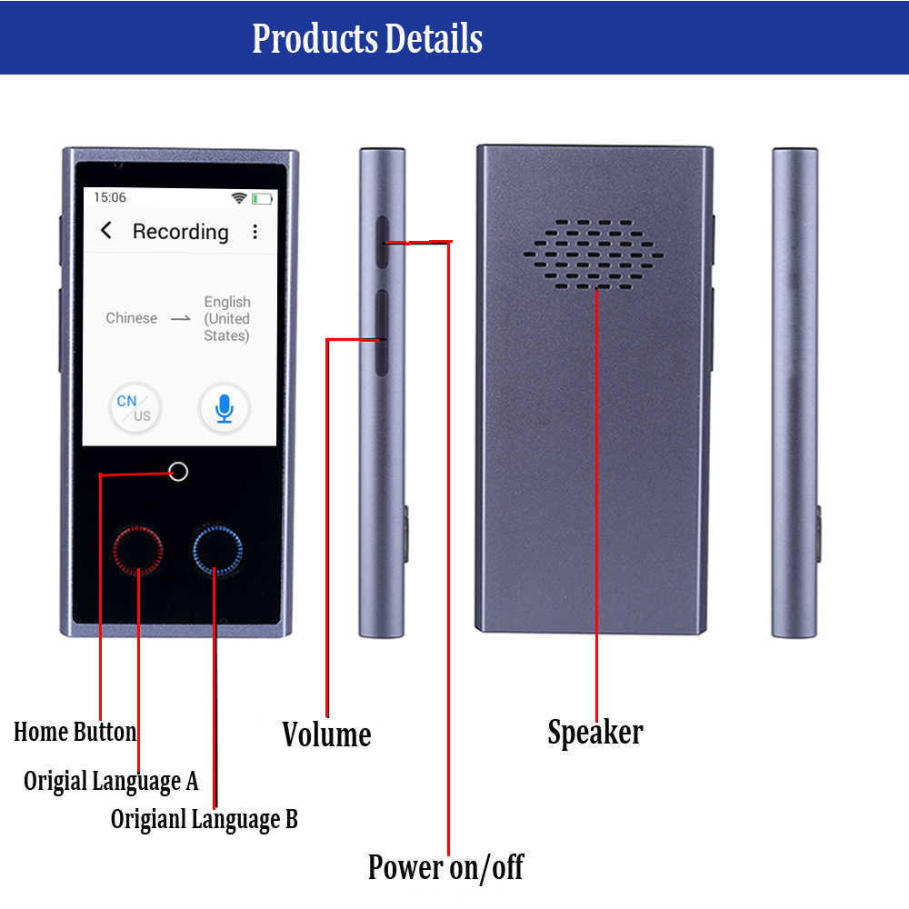 CTVMAN 75 Language Instant Voice Translators in 75 Languages with 2.8 Touch Screen Suitable for Travel and Meeting 3