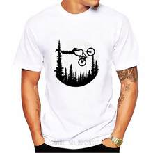 Camisa dos homens T camisa Do Logotipo de Bicicletas MTB Mountain Bike MTB Lua T-Shirt downhill floresta paisagem ao ar livre de manga curta T-shirt(China)