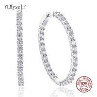 39 mm diameter Real 925 silver hoop earrings jewelry trendy fine jewellery Cubic zirconia sterling silver earring Brincos