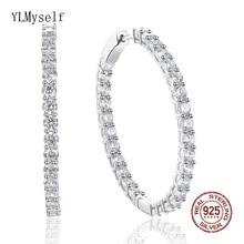 39 mm diameter Real 925 silver hoop earrings jewelry trendy fine jewellery Cubic zirconia sterling earring Brincos