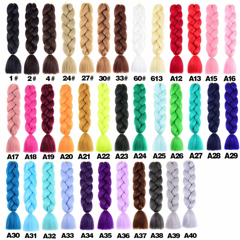 Extensiones de cabello trenzado Jumbo de 24 pulgadas y 105 colores, extensiones de cabello sintético ombré Afro preestirado al por mayor para trenzas en caja