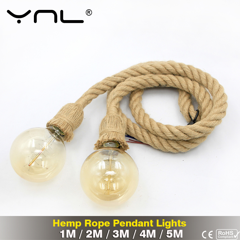 Vintage Hemp Rope Pendant Lights 5M 4M 3M 2M 1M Loft Retro Industrial Lighting Decor Hanging Lamp E27 110V 220V For Restaurant