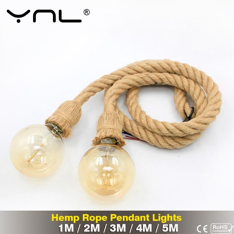 Vintage Hemp Rope Pendant Lights 5M 4M 3M 2M 1M Loft Retro Industrial Lighting Decor Hanging Lamp E27 110V 220V For Restaurant