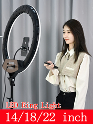 Photographic Lighting Selfie LED Ring Lamp 14 18 22 Inch Dimmable Ring Light Live Studio for Tik Tok Makeup Video Photo