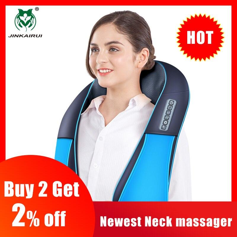 JinKaiRui Newest Neck Massager 16 Massage Rollers 3D Kneading Massage Heating Direction Adjustable 3 Strength Smart Save Energy