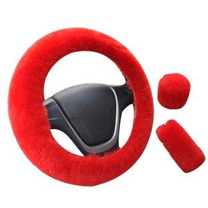 Image 3 - Capa de volante do carro 16 cores inverno universal mão freio engrenagem posição de três peças capa de pele interior do carro acessórios