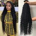 Rucycat малазийские человеческие волосы пряди волос глубокая волна 8- 32 34 36 38 дюймов вплетаемые волосы натуральный Цвет Человеческие волосы Remy ...