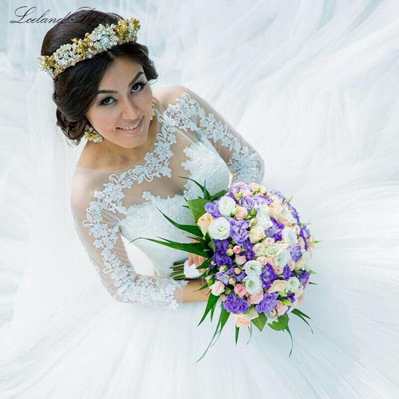 Elegant Scoop Neck Ball Gown Tulle Wedding Dresses 2019 Long Sleeves Appliques Vestido De Noiva Floor Length Bridal Gowns
