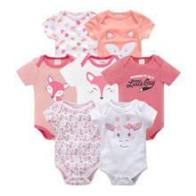 Honeyzone Bodysuit Baby Boy Clothes Cute Cartoon Short Sleeve Christmas Bodysuits Body Baby 7PCS/Set Infant Cotton Clothes bebe(China)