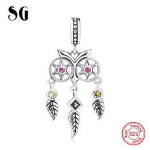 SG 925 silver owl Dreamcatcher Beads with CZ Fit original pandora charms Bracelet SPendant diy jewelry making for women gifts sg original owl charms with cz