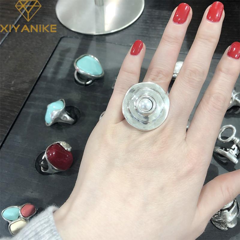 XIYANIKE 925 argent Sterling français INS tendance marque exagérée grande perle ronde irrégulière anneau femme mode créativité cadeaux