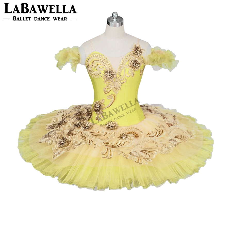 Performance Classical Ballet Costume For girl Adult Canary Fairy Professional Ballet Tutu Yellow Gold Platter Plate SkirtBT9024