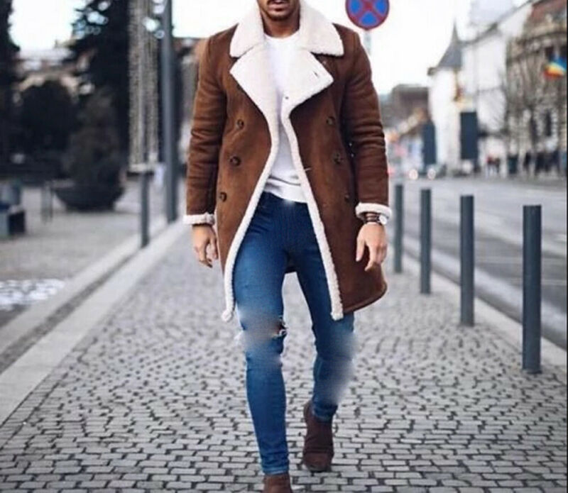 2019 New Fashion Men Fur Fleece Blends Brown Color Trench Coat Overcoat Lapel Warm Fluffy Jacket Outerwear Male Boy Warm Jacket