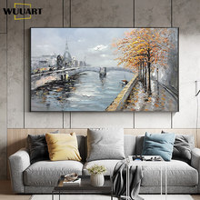Paintings On Canvas Handmade Wall Art Canvas Abstract Riverside Scenery Oil Paintings Wall Decoration Paintings For Living Room