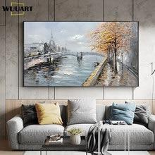 Peintures sur toile d'art mural fait à la main, peintures à l'huile abstraites de paysage de bord de rivière, peintures de décoration murale pour salon