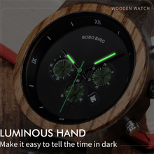 BOBO BIRD Luxury Date Display Wristwatches Wood Style