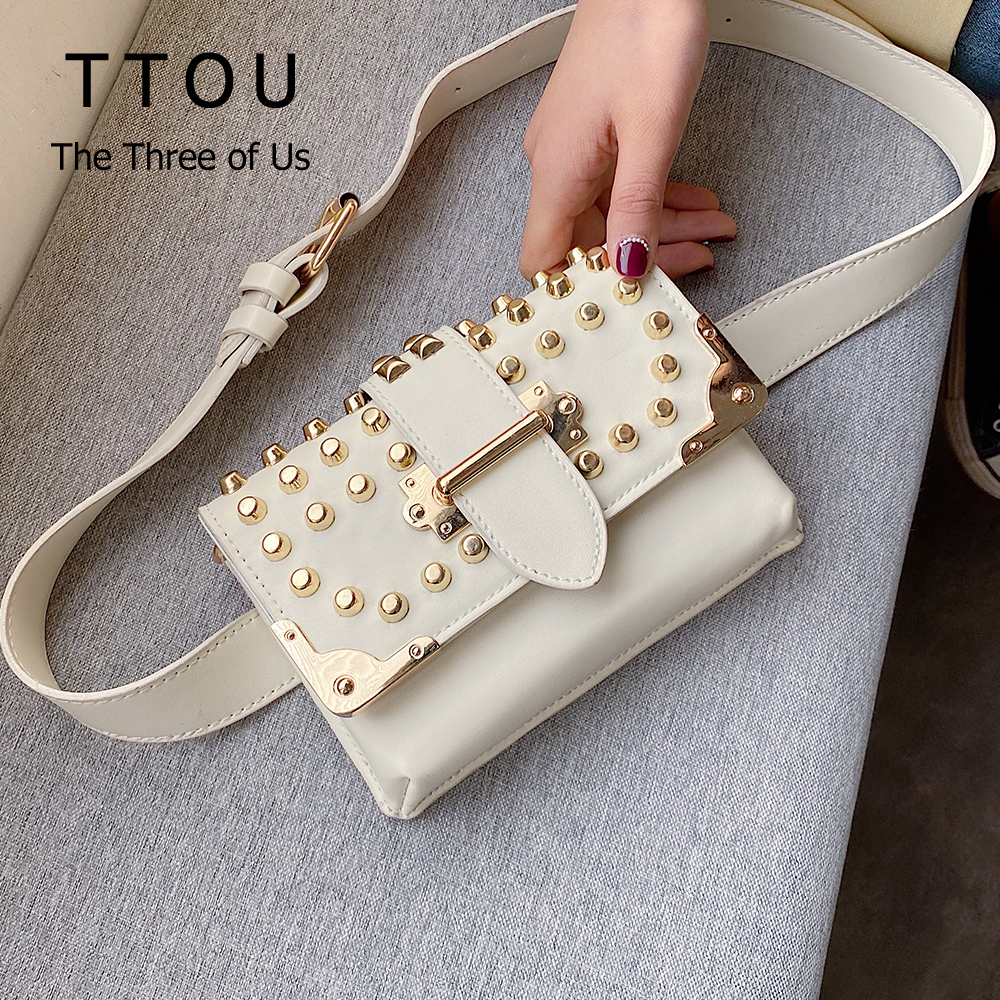 Luxury Famous Designer Rivet  Women Handbags Crossbody Bags For Women 2020 Small Shoulder Bag Ladies Solid Color Messenger Bags