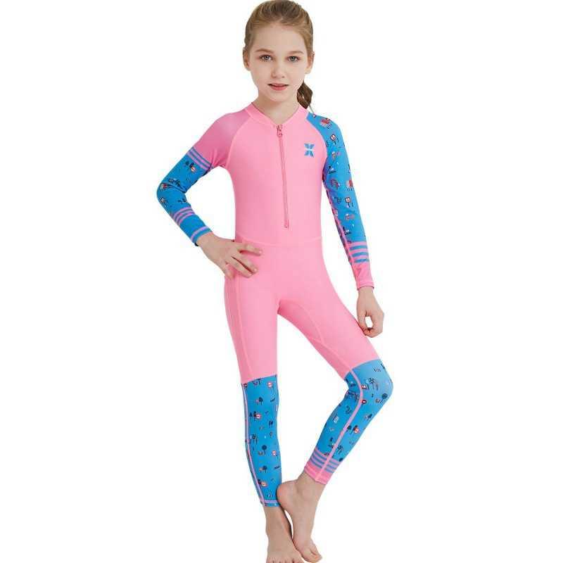 Anti-UV çocuk yüzme dalgıç giysisi tek parça uzun kollu siyam Spandex pamuk Wetsuits hızlı kuru
