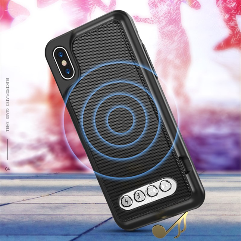 3 in 1 Bluetooth Speaker Hi-Fi Phone Case Power Bank Protective Case TPU Hard Shell Cover For iPhone 6 6S 7 8 Plus X XS Max XR
