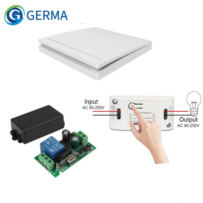 GERMA – télécommande sans fil, Module de commutation de relais + émetteur mural 1 canal, AC 85V 433 V 110V, 1 CH, 220 MHz