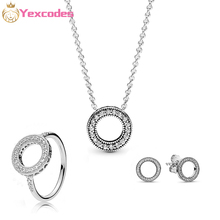 Heart of The Ocean Fine Necklace Ring Silver plated Jewelry set Female Transparent Crystal Elegant Party Gifts Fashion Jewelry