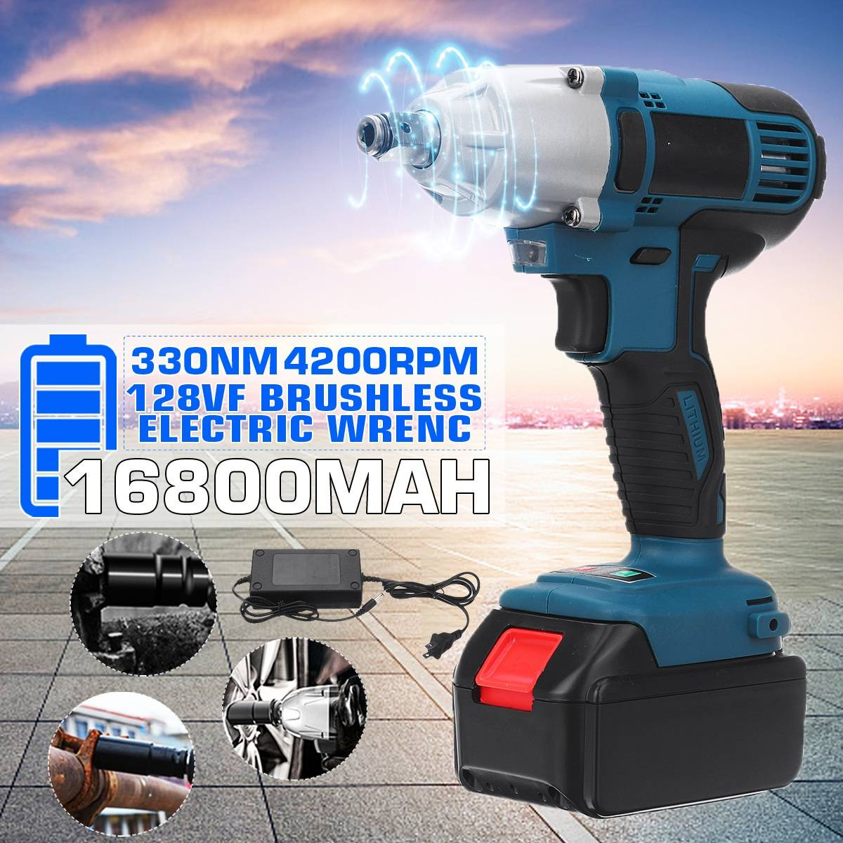 128VF 330N.m Cordless Electric Impact Wrench Drill Screwdriver 4200RPM 110-240V 16800mah Battery LED Lights Power Tool