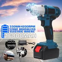 128VF 330N.m Cordless Electric Impact Wrench Drill Screwdriver 4200RPM 110 240V 16800mah Battery LED lights Power Tool