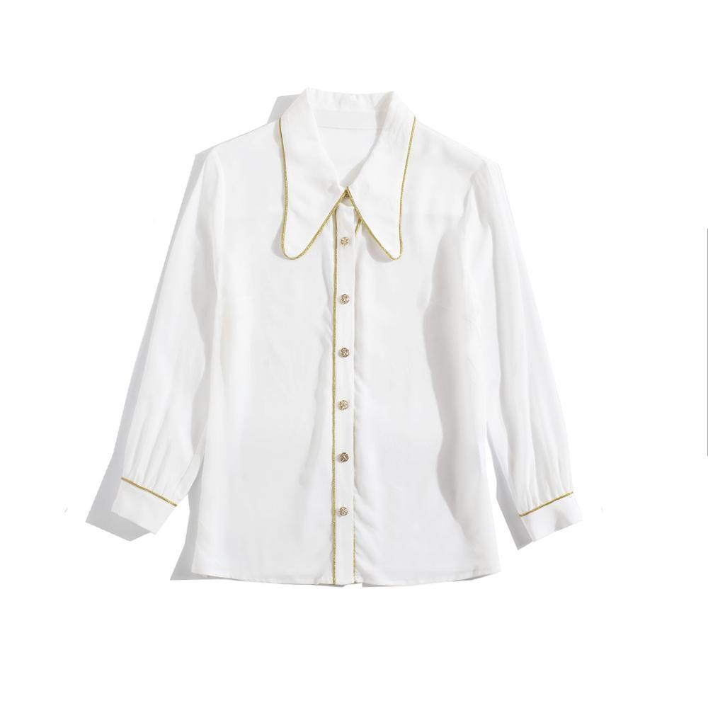 Chemise en soie femmes 2019 automne dames mode couleur unie col rabattu simple boutonnage poignet longueur manches chemise blanche S XXL - 4