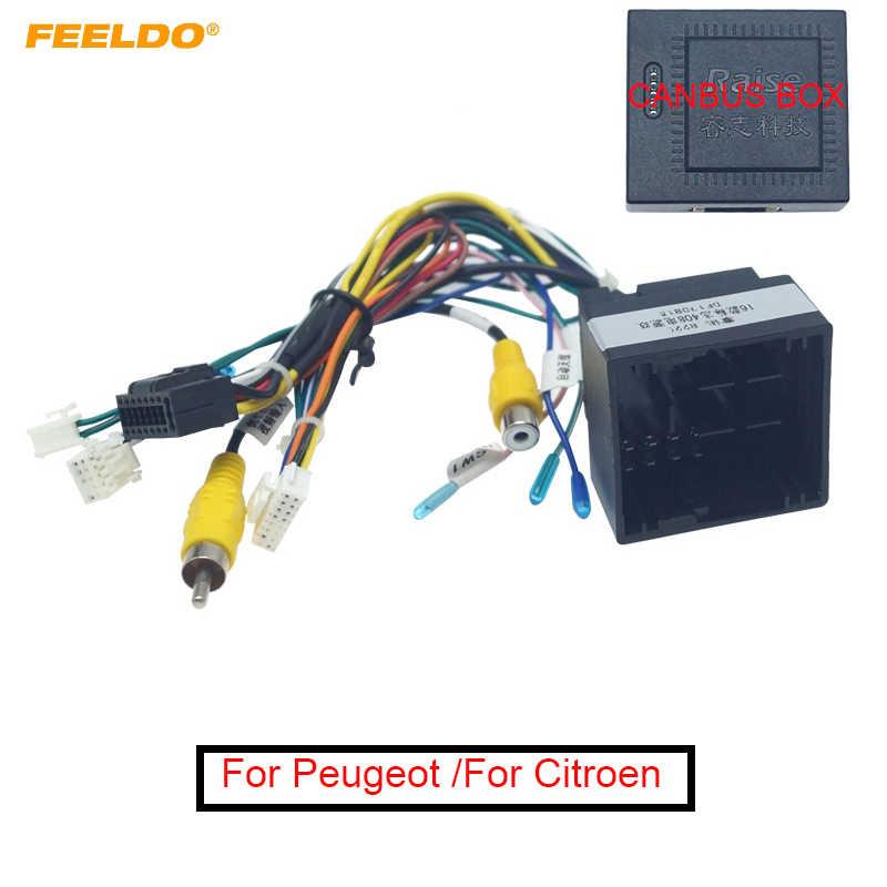 Arnés de cableado estéreo FEELDO de 16 pines para coche Android para Peugeot 308(2016)/4008(2017)/508L(2019)/Citroen C3 XR/C5 AIRCROSS #6224