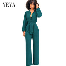 YEYA Newest Green Tie Waist Detail Elegant Straight Jumpsuits Women High Waist Long Sleeve Jumpsuits Sexy Office Lady Playsuits цена 2017