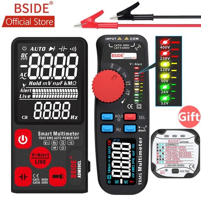 BSIDE Модернизированный Цифровой мультиметр цветной ЖК цифровой мультиметр 6000 отсчетов TRMS авто диапазон напряжения Ампер Ом Гц колпачок темп диод