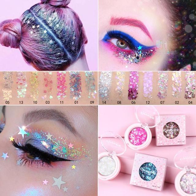 Cmaadu Cheapest Face Eye Highlight Powder Eyeshadow Palette  Shining Sequins Pentagram Moon Diamond Fragment Eye Shadow TSLM1