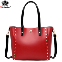 Fashion Ladies Rivet Handbag Luxury Brand Leather Top-handle