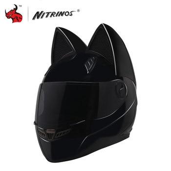 NITRINOS Motorcycle Helmet Women Personality Moto Capacete Black Helmet Full Face Moto Helmet Fashion Motorbike Helmet цена 2017