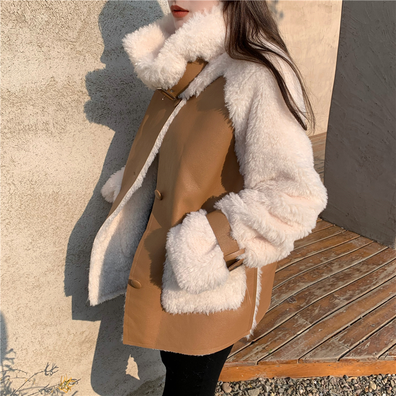 H605aff504b4a46a7ba0457e346502660q Winter Women High Quality Fur Coat Loose Collar Design Integrated Long Splicing Single-breasted Cotton-padded Pocket Jackets