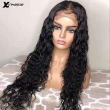 Pelucas de cabello humano ondulado con agua, pieza profunda, 13*6*1, pelucas frontales de encaje mojado y ondulado, peluca Frontal de encaje brasileño, nudos blanqueados prearrancados