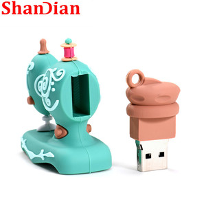 Image 3 - SHANDIAN Cartoon USB2.0 Flash Drive Sewing Machine Pen Drive Pen Drive 4GB 16GB 32GB 64GB 128GB U Disk Wedding Commemorative G