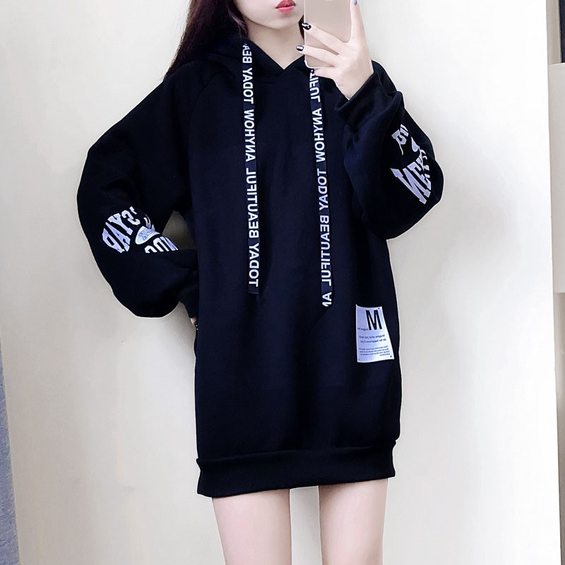 Korean Style Spring Autumn Women Hooded Pullover Loose Casual Letter Print Hoodie Long-sleeved
