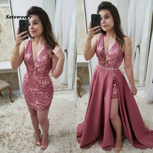 Sexy V-Neck Lace Appliques Short Evening Dresses Charming Be