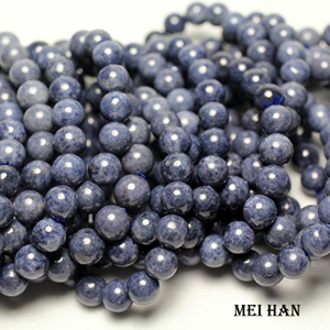 Image 2 - Meihan (1 bracelet)  A+ blue sapphiree 9 9.5mm & 9.5 10mm smooth round loose beads for jewelry DIY