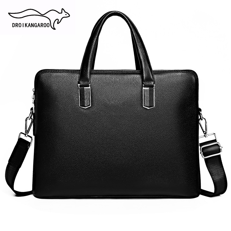 Cross Border Genuine Leather Men's Briefcase Customizable Crossbody Bag Full grain Leather Double Layer Business Hand Computer B